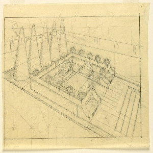 Plan of walled garden with conical trees at one end, benches and a statue of a reclining female figure.