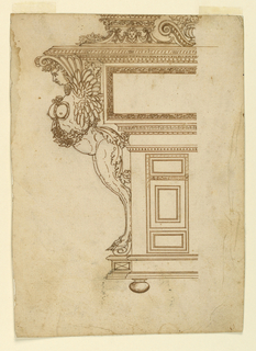 One side of an ornate cabinet shown in elevation with a winged, armless satyress prominately featured in profile. One half of cabinet design is shown with a large rectangular section supported by the design of lower verticle doors. Above, is an entablature with a vase of fowers between cornice and pedestles on top.