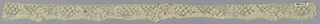 """Narrow border of Binche-style lace with scalloped edge. Flower and leaf design. Ground: """"fond de neige."""""""