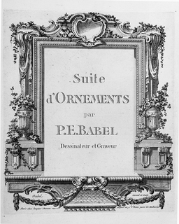Title page with list of contents for Babel's Suite d'Ornements.