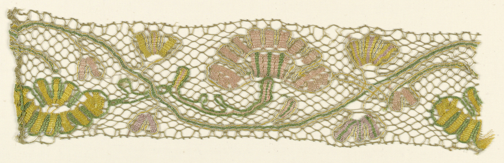Polychrome pattern  of a serpentine stem with branching flowers.