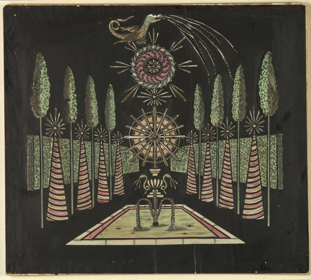 Magic lantern slide, optical toy. On black field, representation of a garden: hedges on either side receding into background, and alternating coves and tall trees. In center, fountain crowned by rayed circle, above which is a whorl with a dragon at the top. White, yellow, green, blue, and pink transparencies.