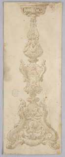 Design for a Candelabra. Baluster with acanthus and putti. At base, a scrolling foot and two putti supporting a portrait medallion. Two ignudi seated at sides.