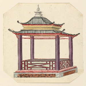 Vertical rectangle. An open pavilion, rectangular in plan, with a two-tiered pagoda roof supported by four columns. The structure stands on a podium. A low balustrade, decorated with lattice-work, encircles the porch.  Original album associated with this collection still exists.  See 1948-40-1 accessory