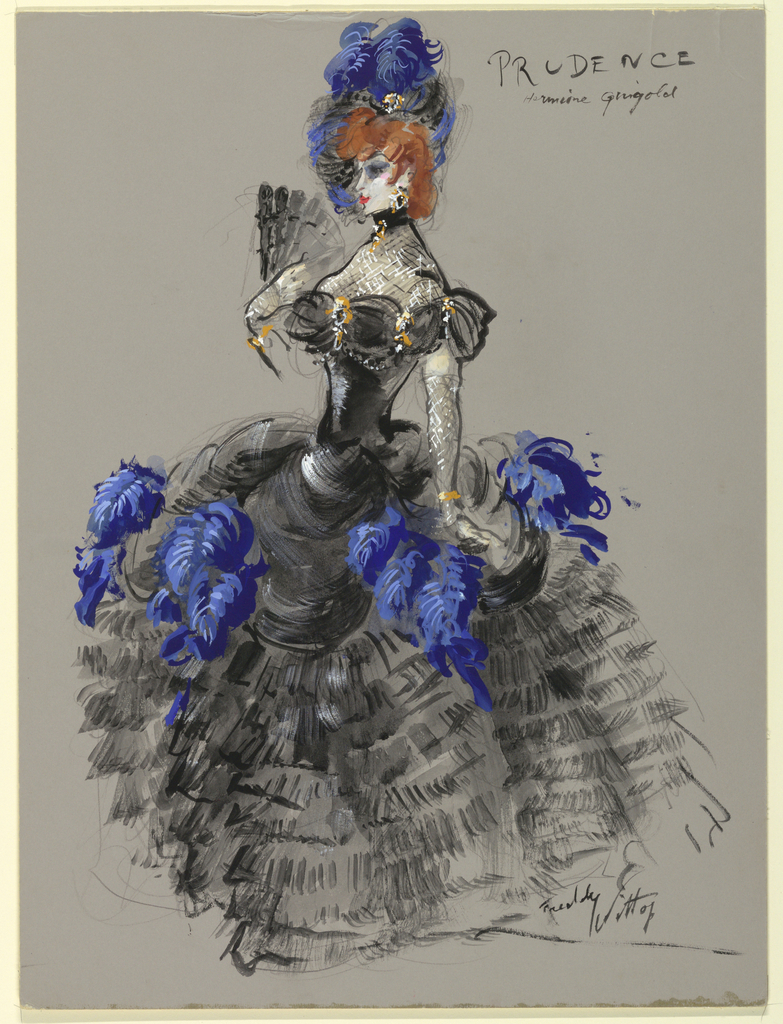 Vertical rectangle. Woman in black ruffled dress trimmed with blue feathers holding fan in right hand.