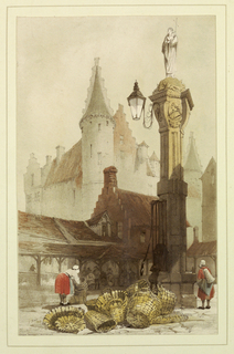 Print, Fish Market, Antwerp, 1839