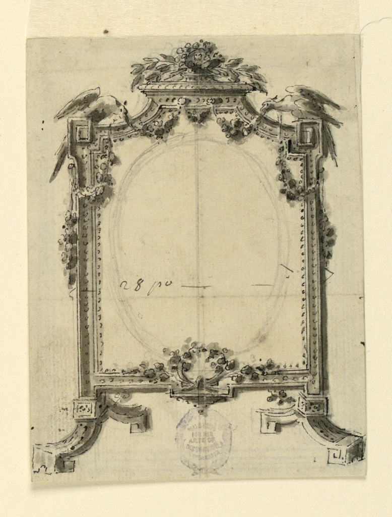 "Moulded frame upon two feet shaped like entablatures of a pediment. Birds seated at the top corners support a garland hanging in festoons. The entire width is indicated as 28 po"". An ovoid is sketched inside."