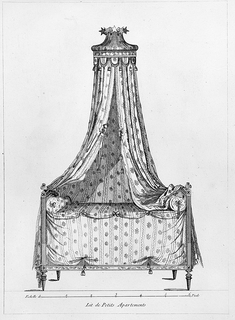 Bed design with bed draperies and pelmet