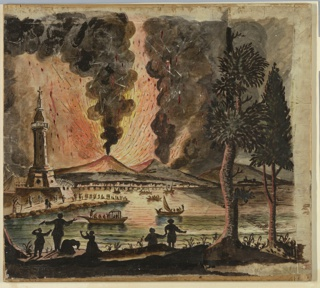 Magic lantern slide, optical toy. On black field, representation of volcano Vesuvius in eruption. To left, lighthouse-like tower topped with a cross. In foreground, six human figures and two trees.