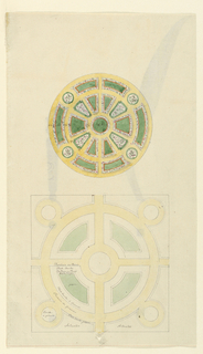 Two plans of a circular formal garden, with paths radiating from a central grass plot. Upper plan included measurements.