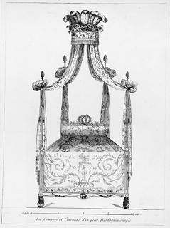 Four poster bed design with a center coronet and draperies