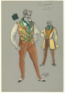 Man, yellow shirt, brown pants, elaborate vest. At right, version with coat on, hat in left hand. Costume Design: Iniate Wiate in Dumas et Fils