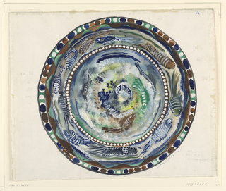 Design for a plate with border painted with fish on border and well in green, brown, blue and white.