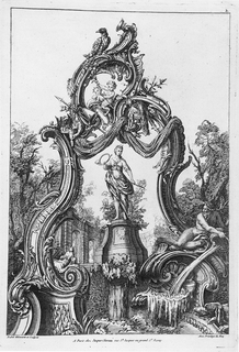 Asymmetrical composition. Atop cartouche, a winged monster. Attributes of battle include an encased spear, upper left, and a plumed helmet lower right. Two seated putti at center of cartouche.