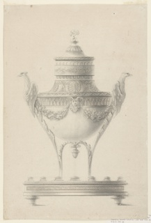 Incense burner shaped like an altar lamp supported by two boughs ending with foreparts of two eagles as handles. Rose festoons are suspended from these and a winged female mask. Friezes surround the shoulder and lower neck. The upper neck is fluted behind a ring with a laurel garland. A putto with tambourine sits on top of the cover. Ovoidal tray supported by knobs at the bottom.