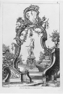 Print, Cartouche and Fountain with Venus and Amor