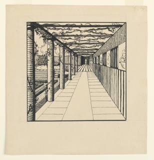 To the right of an enclosed garden, a paved loggia in perspective, leading to a sculpture at the end of the gallery. Wysteria vines grow on column supporting a roof trellis. The gallery's right wall is decorated with lattice work and bas-reliefs.