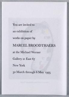 Invitation, Marcel Broodthaers exh.