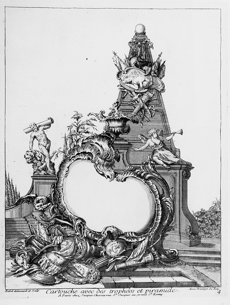 Print, Cartouche with Trophies and a Pyramid