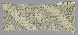 Fragment of Lille style bobbin lace but with two different grounds.
