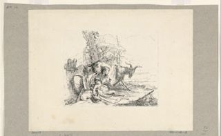 Print, A Woman and an Infant Satyr with a Goat, from the Vari Capricci, 1740–1743