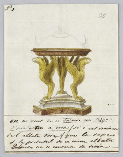 Vertical rectangle. Design for a bowl intended to be executed in silver, gilded metal, and alabaster. Three chimaerae standing upon a base support the low bowl. A cover is roughly sketched in graphite. Inscription below.