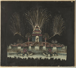 Magic lantern slide, optical toy. On black field, lake with architectural island; masonry platform with fountains, crowned with pair of lions. At top, three sprays of fireworks. On lake, two boats with fireworks. Across bottom, crowd of human figures shown in silhouette.