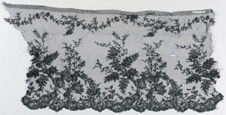 Chantilly lace - a/. b/, c/, and d/ show design of branches with flowers and leaves rising from scalloped border.