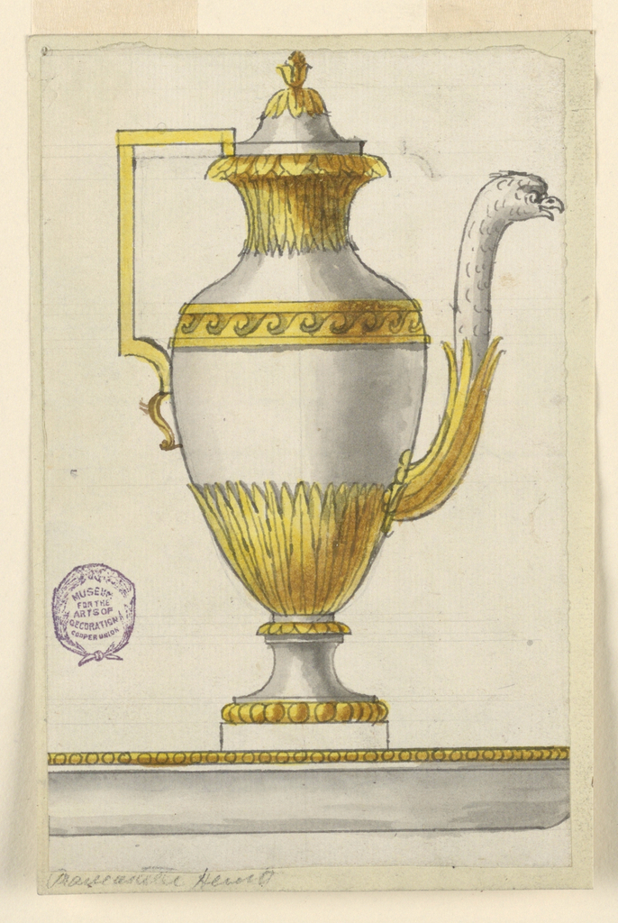 Design to be executed in partial gilt silver. Edge of the basin is shown, from which the ewer rises. Shown in profile with spout at right. Lower portion of the body decorated with leaves. Angular handle and spout composed of the head and neck of a bird.