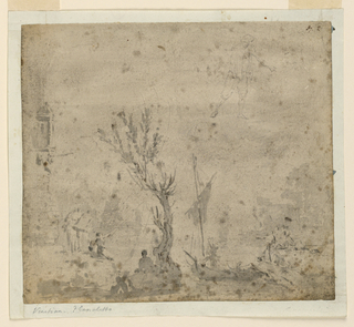 In the foreground, land with a tree and seated figures. Behind, ships in a harbor. Above, figural study.