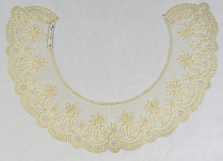 Collar with bobbin lace appliqué for the border and conventionalized bell flowers motifs.