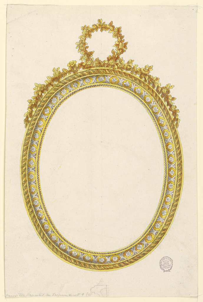 An oval frame painted to look like partial gilt. Decorated with inner band of rosettes and acanthus leaves; outer band with guilloche. At top, a floral garland with a loop at center.