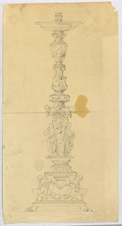 Lion paw feet support a platform upon which kneel two angels. Above this, a column with figures, and two baluster forms decorated with acanthus leaves and a frieze with figures.