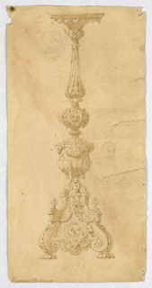 Design for a Candelabra. Baluster form with acanthus leaves. Three cherub heads supported by dolphins. Scrolling base with claw foot and oval tablet decorated with saints.