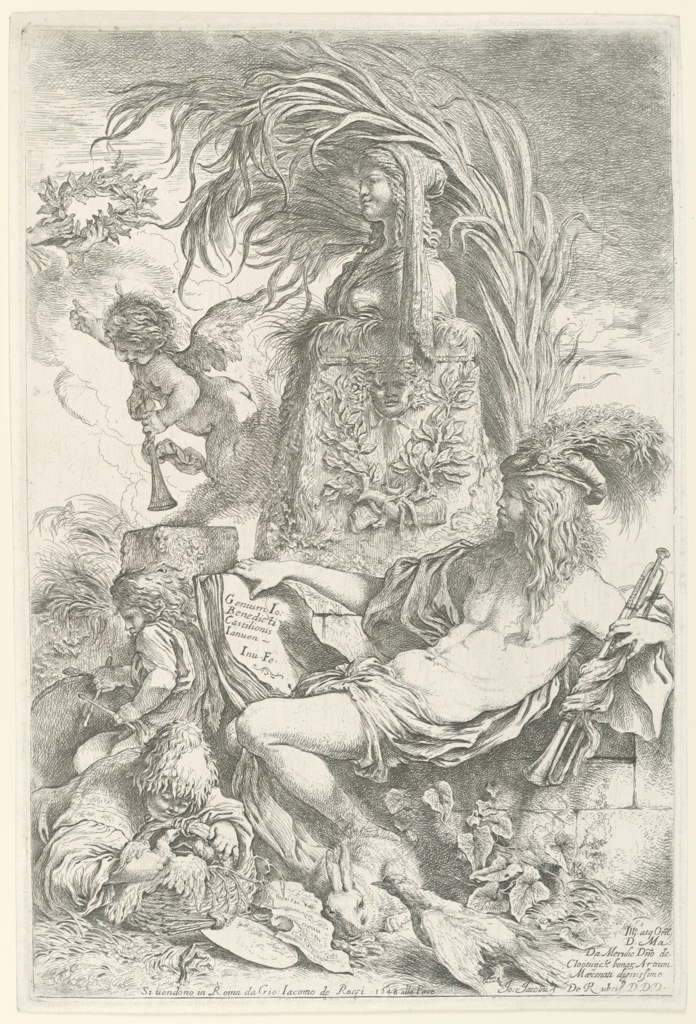 """Vertical etching of the genius of the printer is represented by the figure of a young man, almost nude, seated at right, facing left in profile.  Before him is an altar dedicated to the Goddess of Painting.  He holds a trumpet in his left hand; a book in the other on which appears the inscription: """"Genium Jo. Bendicti Castilionis Ianuen-Inv. Fe."""" At the left are two children, one beating a drum; the other holding a basket filled with doves.  Above, a genius blows the trumpet, while pointing to the crown of immortality.  At lower right, an inscription dedicated to M. de Mernhe, seigneur de Clootvyck.  Center below:  address of G.J. de Rossi and date."""