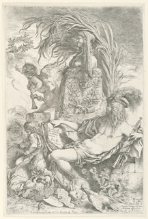 "Vertical etching of the genius of the printer is represented by the figure of a young man, almost nude, seated at right, facing left in profile.  Before him is an altar dedicated to the Goddess of Painting.  He holds a trumpet in his left hand; a book in the other on which appears the inscription: ""Genium Jo. Bendicti Castilionis Ianuen-Inv. Fe."" At the left are two children, one beating a drum; the other holding a basket filled with doves.  Above, a genius blows the trumpet, while pointing to the crown of immortality.  At lower right, an inscription dedicated to M. de Mernhe, seigneur de Clootvyck.  Center below:  address of G.J. de Rossi and date."