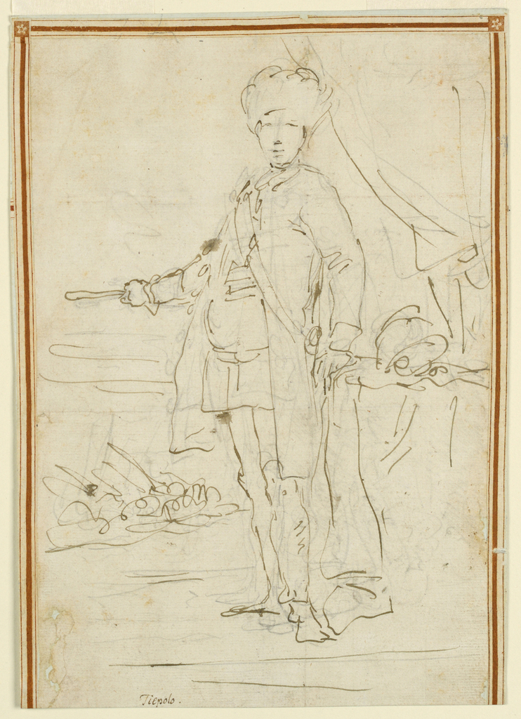 Drawing, Officer With Battle in Distance, ca. 1750