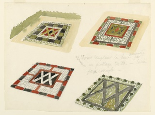 """Design for four parterres, all based on a double """"X"""" motif at center of concentric square borders. Top left: red areas surrounding black center with alternating dark and light green squares. Top right: black areas surrounding red center with white and green border and ending with alternating red and green. Lower left: Black, white and red with alternating black and red border. Lower right: """"X"""" motif enlarged, in black surrounded by green with border of white with circular, green areas. Lower right design cropped by edge of paper."""