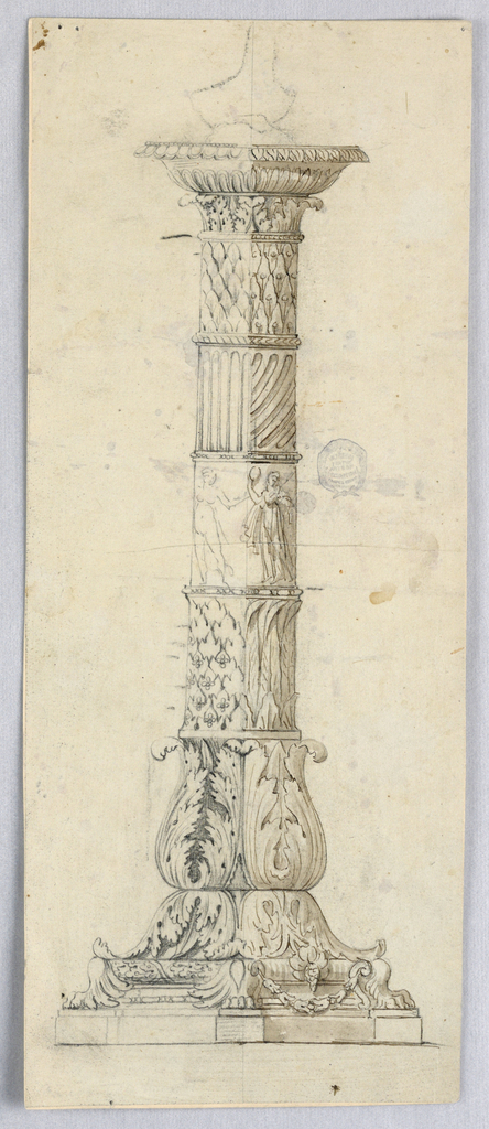 Elevation of a candlestick with alternative suggestions. At base, acanthus leaves. At center, a frieze of classical figures.