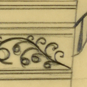 Design for a teacup with a band of two squares containing some curled vines.