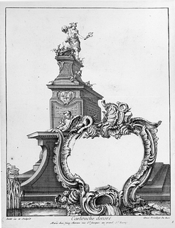 Cartouche design with a statue of Mercury