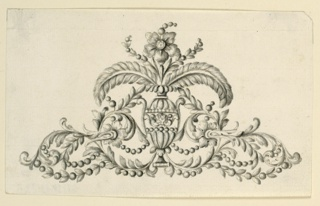 Design for a decorative hairpin. In the center is a vase with two long curving feathers, two branches, and a central blossom. Springing from the foot of the vase are two rinceaux, with festoons of beads. The upper right corner is bevelled.