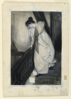 A woman, dressed in a long white dress, is seen descending a staircase, and peers over the banister, left.