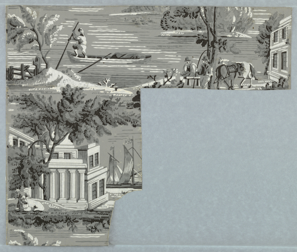 L-shaped portion of a paper with repeating figured scenes: house and ship, boatman, and teamsters at rest. A complete width of paper.