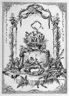 Ornament panel design with a double cartouche with Venus or Thetis, her Nymphs and a fountain