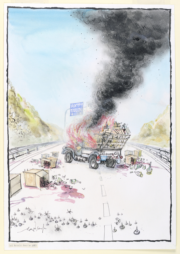 In the center, a truck filled with crates of wine is engulfed with flames and billows smoke.  At bottom, center is a line of upturned tacks on a road and just beyond, boxes and crates of broken wine bottles that have spilled out of the truck, whose tires are flat.