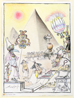 Under a red sun, a pyramid looms in the background.  On its right face is a large tap under which a vessel is full with red liquid.  At the center, right, an Egyptian pharoh sips sips from a cup while attendants holding colorful fans look on.