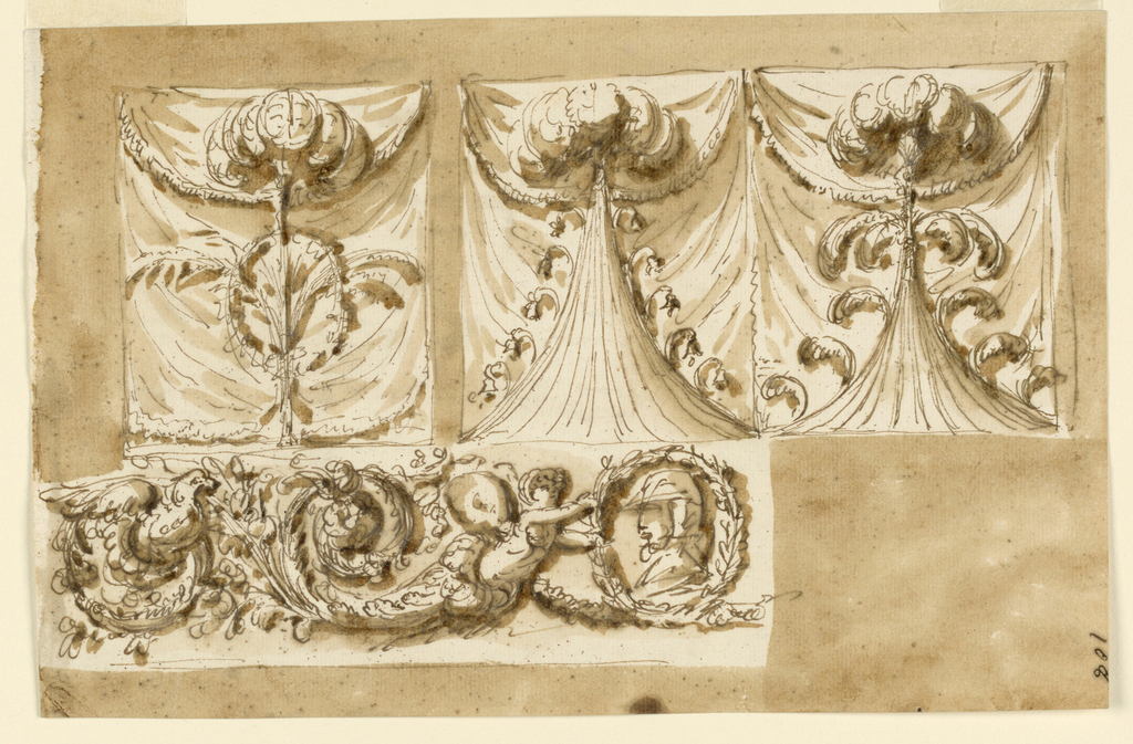 Upper row, at left: in front of a drapery is a stem with feathers on top; curved branches are fastened to it and in the center is an oval wreath. At right: two differently shaped points of tents are in front of a drapery, both with feathers on top. The right point has a circle of feathers below and single curved feathers along the edges of the tent. The left point has along the edges small flower stems. Below, at left, the left side of the decoration of a frieze: the central motif is an oval weather with a bust portrait in profile. It is supported by the half-figure of a child with butterfly wings ending in rinceaux. From a second spiral springs the half-figure of a bust. Usual background.