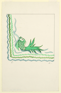 Image of a green fish curved against corner in greens and blue.