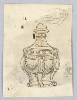 Elevation of a censer. Scrolling legs connected with a ring at bottom. Body decorated with swags, beck decorated with scales. Smoke emitting from top.